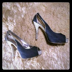 Guess Denim Silver Glitter Heels. Size 7.5